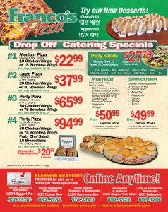 Franco's Catering Specials and Promotions