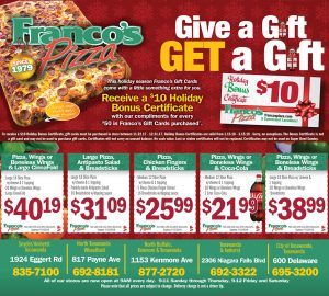Franco's Holiday Coupon Menu with Gift Card