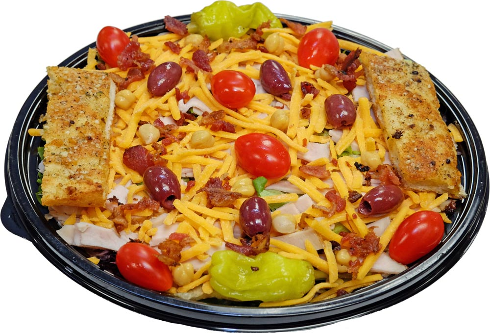 Turkey Club Salad with Breadsticks